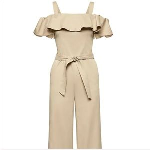 Twill off the shoulder jumpsuit